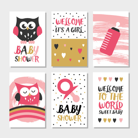 owl illustration: Set of 6 cute creative cards owl baby shower design. Hand Drawn card for party invitations, scrapbooking. Vector illustration