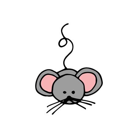 House Mouse - Illustration Isolated on White Background.
