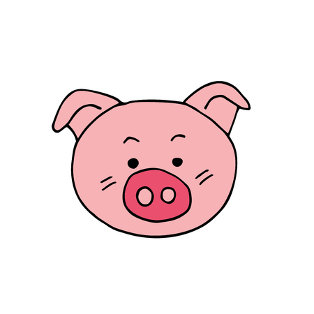 Pig Face icon vector illustration on white background. Illustration