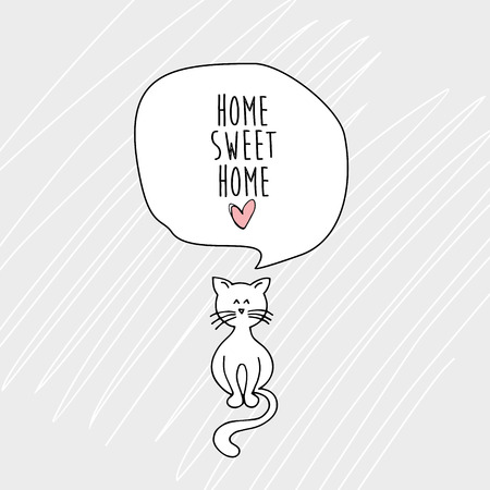 Home sweet home with a cat card. Banco de Imagens - 84502520