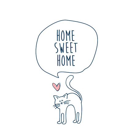 Home sweet home with a cat card illustration