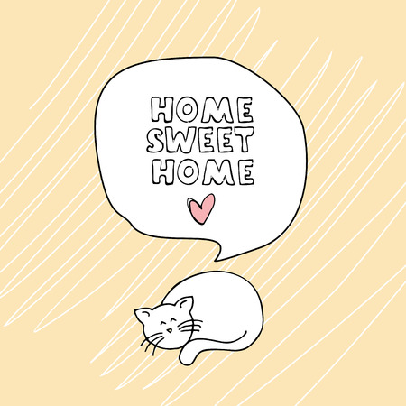 Home sweet home with a cat card. Vector illustration Banco de Imagens - 84429546