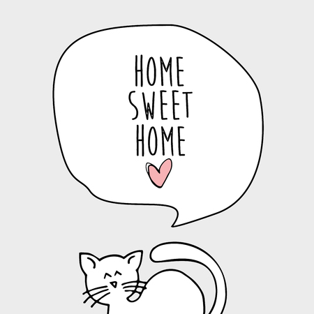 Home sweet home with a cat card illustration Banco de Imagens - 84428846