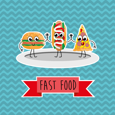 hot dog: Fast food. Template elements for web and mobile applications Illustration