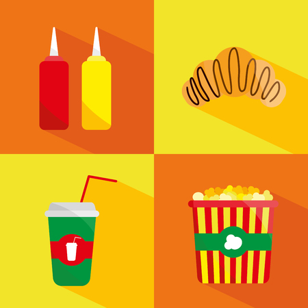 hot dog: Set of cute cartoon fast food characters .Template for menu of cafes and restaurants. Kids food. - stock vector Illustration