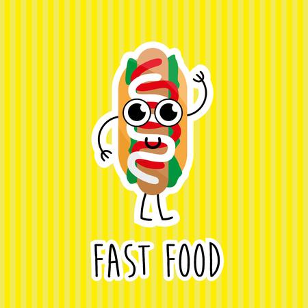 Cartoon comic illustration of hotdog sandwich  for web and mobile application