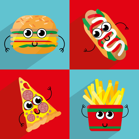 hot dog: Set of cute cartoon fast food characters Template for menu of cafes and restaurants.