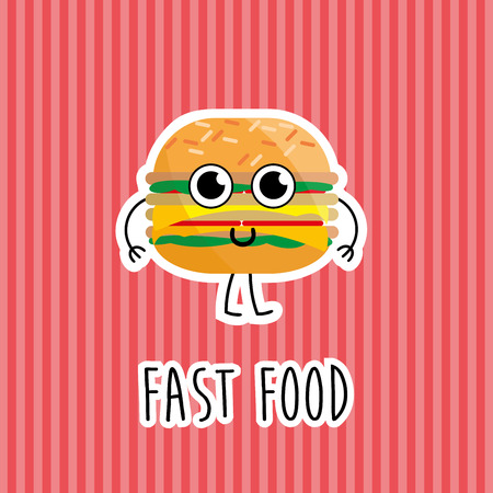 hot dog: Cartoon comic illustration of cheeseburger for Fast food, restaurant and cafe.
