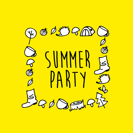 Hand drawn doodle Picnic icons set with summer party text