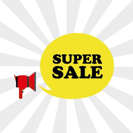 bargaining: Loudspeaker super sale. Vector illustration Illustration