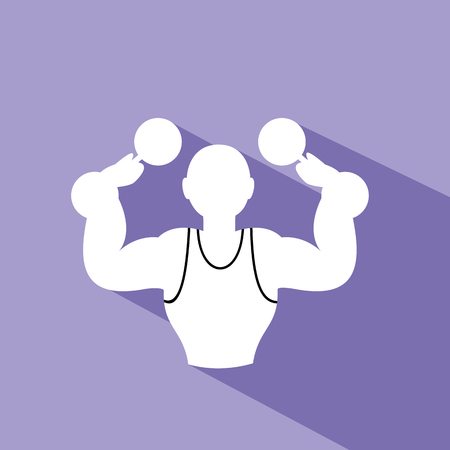 Fitness with dumbbell. Vector Illustration on purple background.