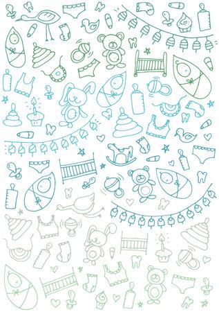 Baby hand drawn doodle. Vector illustration for backgrounds, web design, design elements, textile prints, covers