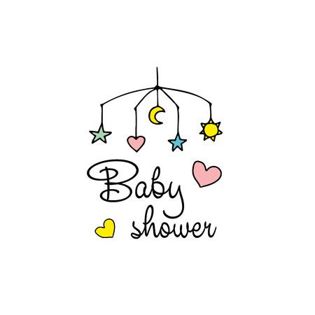 Cute baby shower card design. Vector illustration.