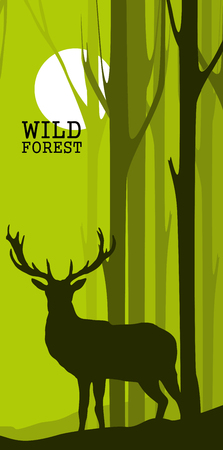 Banners abstractos verticales de ciervos salvajes en el bosque con troncos de árboles Ilustración de vector
