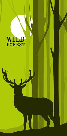 Bannières abstraites verticales de cerfs sauvages dans la forêt avec des troncs d'arbres Vecteurs