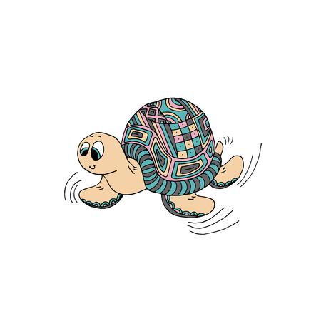 Cartoon turtle. Vector illustration Illustration
