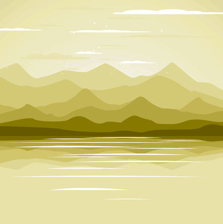 Horizontal abstract banners of hills of coniferous wood  イラスト・ベクター素材