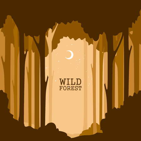 Vector illustration of trees with on edge of forest.