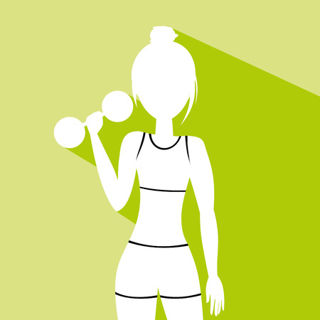 Fit woman with a dumbbell Vector Illustration Illustration