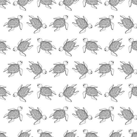 Seamless turtle Vector illustration