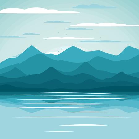 Beautiful summer background. Vector illustration. Seascape.