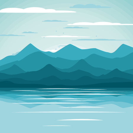 Beautiful summer background. Vector illustration. Seascape.