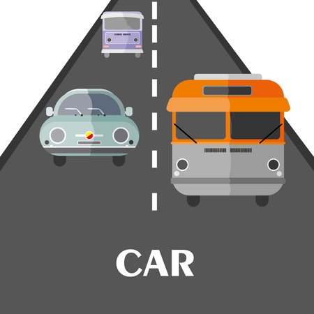 racing sign: Cars on the road Vector Illustration Illustration
