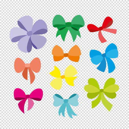 aria: Silhouettes of decorative gift or holidays bows and knots.