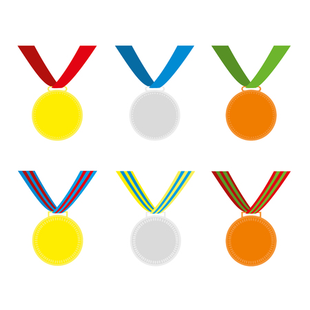 Gold, silver and bronze medals vector set