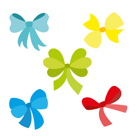 Silhouettes of decorative gift or holidays bows and knots.