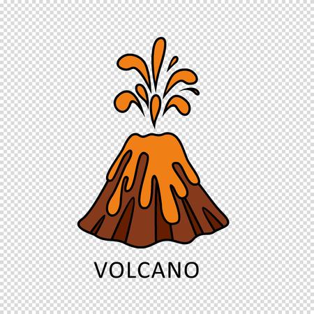 erupting: Volcano eruption with hot lava illustration Illustration