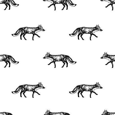 Hand drawn fox seamless pattern design. Vector illustration.