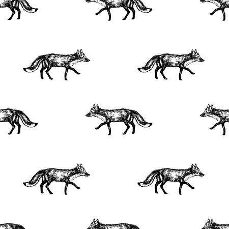 Hand drawn fox seamless pattern design. Vector illustration.