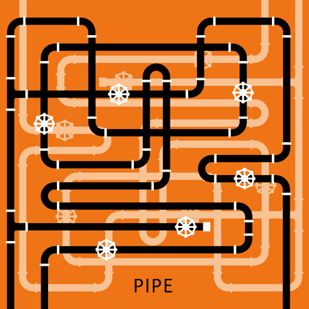 The elements of the pipeline. Pipe system designer. Vector Illustration