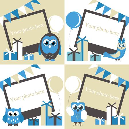 baby announcement card: Happy owl birthday card design. Vector illustration