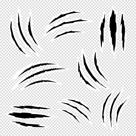 Scratches by claws vector set. Ragged scratches from the claws of animals, monsters.