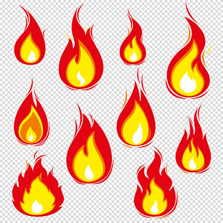 Fire icons vector set isolated on background. Colorful flames in the popular flat style. Simple, abstract icons bonfire. Illustration