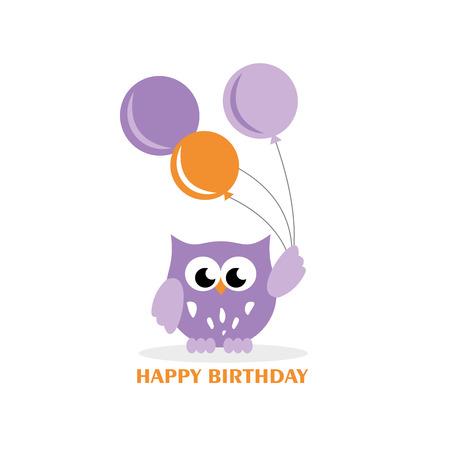 Happy owl birthday card design. Vector illustration