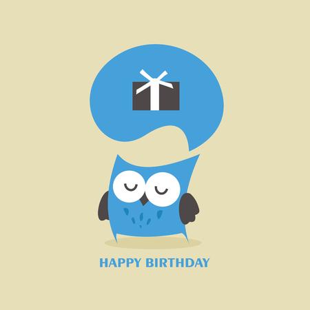 Happy owl birthday card design. Illustration