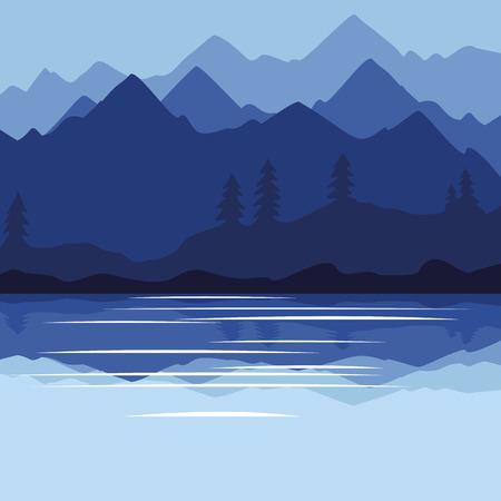 Beautiful nature scene illustration. Illustration