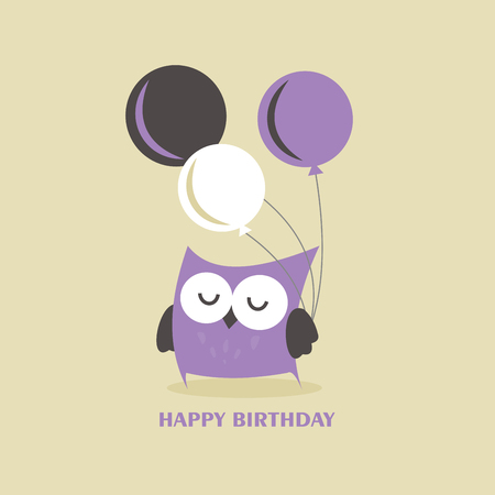 Happy owl birthday card design. Vector illustration Stock Vector - 85546395