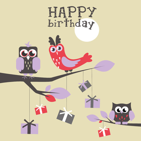 Happy owl birthday card design. Vector illustration Stock Vector - 85546346