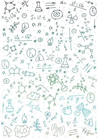 Pattern on the theme of learning with formulas and graphs. Vector Illustration. eps 10 Illustration