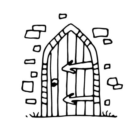 citadel: Ancient gates, hand drawn. Vector illustration.
