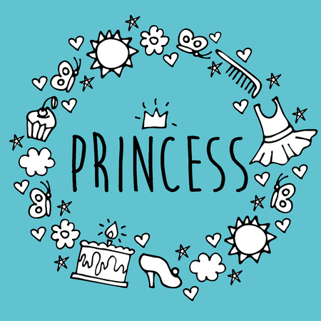 Princess. Greeting card postcard poster birthday invitation typography background design. Vector Illustration. Illustration