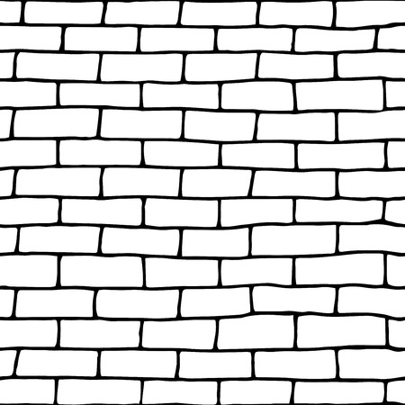 Template doodle seamless brick wall.Vector Illustration. eps10  イラスト・ベクター素材
