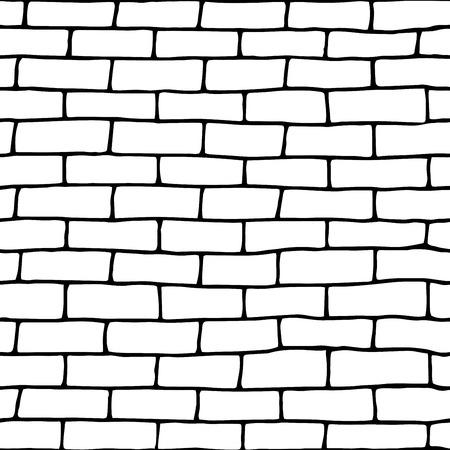 Template doodle seamless brick wall.Vector Illustration. eps10 Illustration