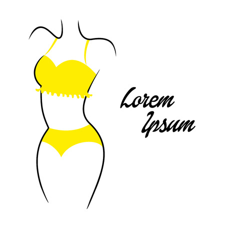 Vector illustration of silhouettes of modern swimsuits on white background. Vector Illustration. eps10