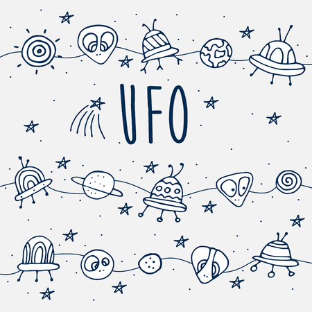 details: card. Cosmic objects set. Hand drawn vector doodles. ufo stars satellite, etc. Space collection.