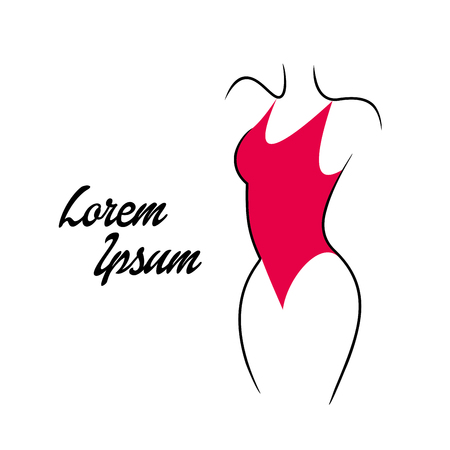 Vector illustration of silhouettes of modern swimsuits on white background. Vector Illustration.